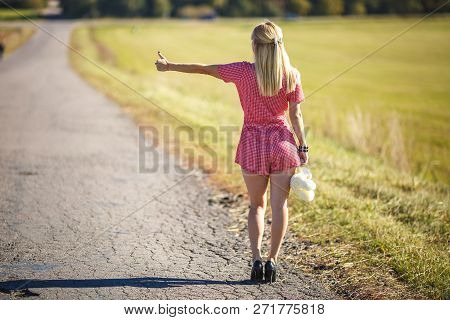 Young Woman Hitch-hiking On A Road At The Fields