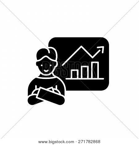 Company Progress Black Icon, Vector Sign On Isolated Background. Company Progress Concept Symbol, Il