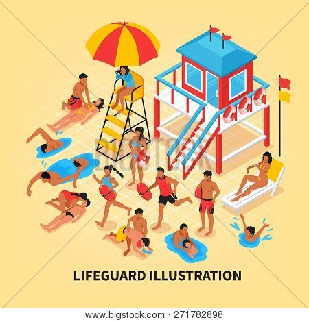 Beach Lifeguards Isometric Vector Illustration With Female Lifeguard Watching Through Binoculars Fro