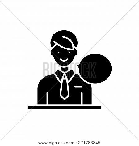Answers On Questions Black Icon, Vector Sign On Isolated Background. Answers On Questions Concept Sy