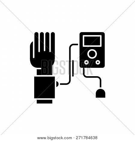 Blood Pressure Measurement Black Icon, Vector Sign On Isolated Background. Blood Pressure Measuremen