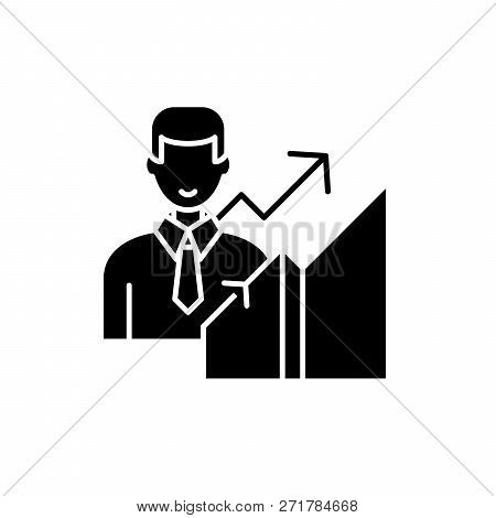 New Career Black Icon, Vector Sign On Isolated Background. New Career Concept Symbol, Illustration