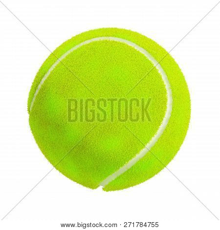 3d Tennis Ball. 3d Image. White Background.