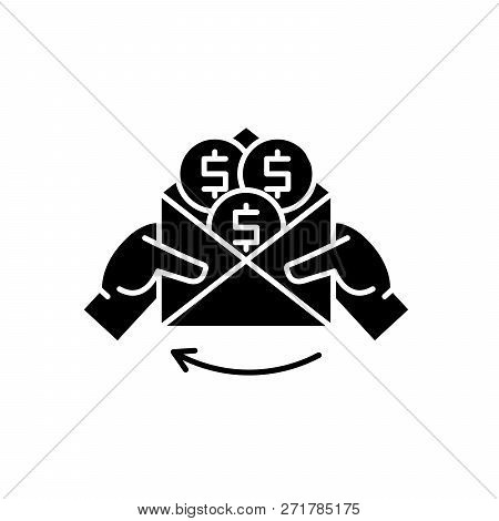 Cash Payments Black Icon, Vector Sign On Isolated Background. Cash Payments Concept Symbol, Illustra