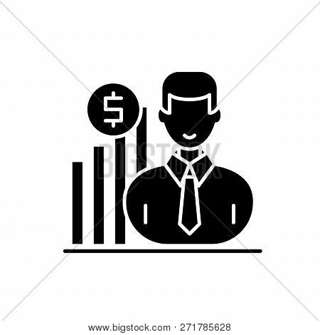 Career Growth Manager Black Icon, Vector Sign On Isolated Background. Career Growth Manager Concept