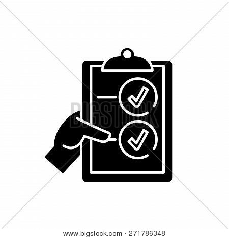 Voting Black Icon, Vector Sign On Isolated Background. Voting Concept Symbol, Illustration