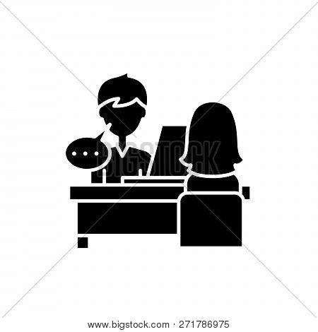 Individual Consultation Black Icon, Vector Sign On Isolated Background. Individual Consultation Conc