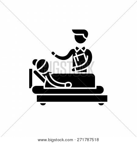 Doctors Consultation Black Icon, Vector Sign On Isolated Background. Doctors Consultation Concept Sy