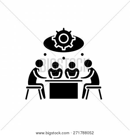 Brainstorming Black Icon, Vector Sign On Isolated Background. Brainstorming Concept Symbol, Illustra