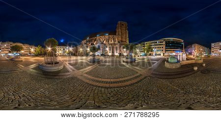 Wroclaw, Poland - September, 2018: Full Seamless Spherical Night Panorama 360 Degrees District Ostro