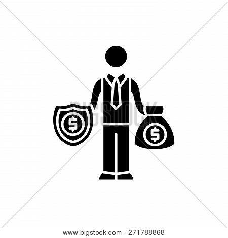 Happy Rich Businessman Black Icon, Vector Sign On Isolated Background. Happy Rich Businessman Concep
