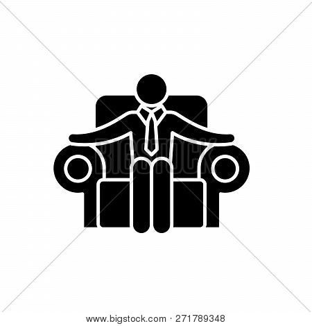 Ceo Black Icon, Vector Sign On Isolated Background. Ceo Concept Symbol, Illustration