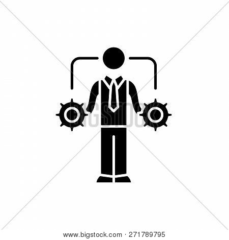 Business Decision-making Black Icon, Vector Sign On Isolated Background. Business Decision-making Co
