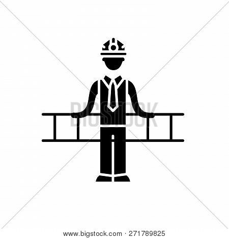 Engineering Solution Black Icon, Vector Sign On Isolated Background. Engineering Solution Concept Sy