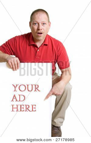 Man In A Red Shirt Holds A White Card Ad Sign