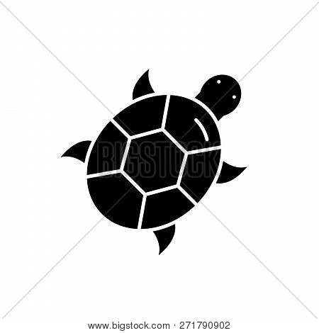 Turtle Black Icon, Vector Sign On Isolated Background. Turtle Concept Symbol, Illustration