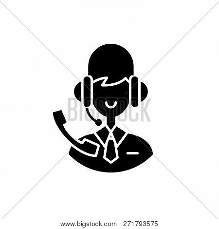 Support Consultant Black Icon, Vector Sign On Isolated Background. Support Consultant Concept Symbol