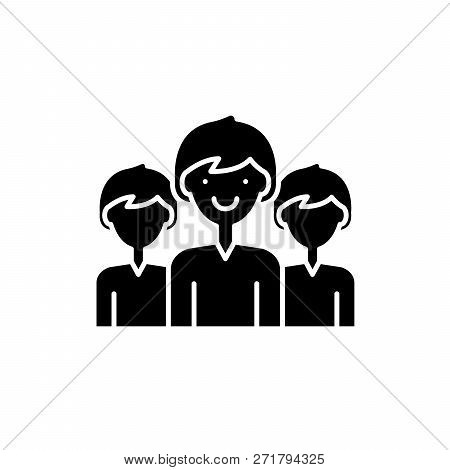 Office Staff Black Icon, Vector Sign On Isolated Background. Office Staff Concept Symbol, Illustrati