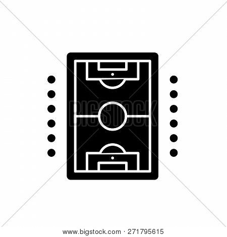 Table Soccer Play Black Icon, Vector Sign On Isolated Background. Table Soccer Play Concept Symbol,