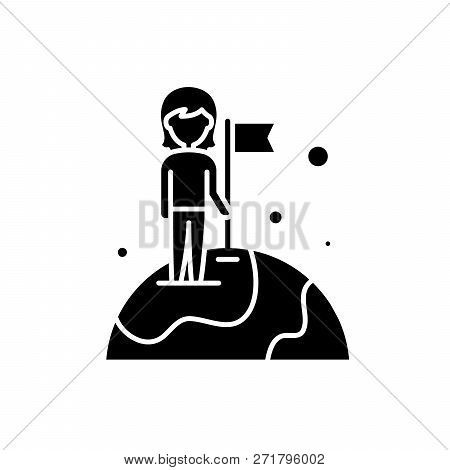 World Champion Black Icon, Vector Sign On Isolated Background. World Champion Concept Symbol, Illust