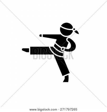 Karate Black Icon, Vector Sign On Isolated Background. Karate Concept Symbol, Illustration