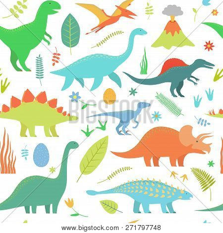 Dino Seamless Pattern. Vector Illustration. Isolated On White.