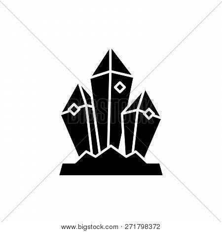 Mineral Treasure Black Icon, Vector Sign On Isolated Background. Mineral Treasure Concept Symbol, Il