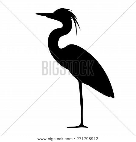 Heron Walking , Vector Illustration,,profile View,  Black Silhouette