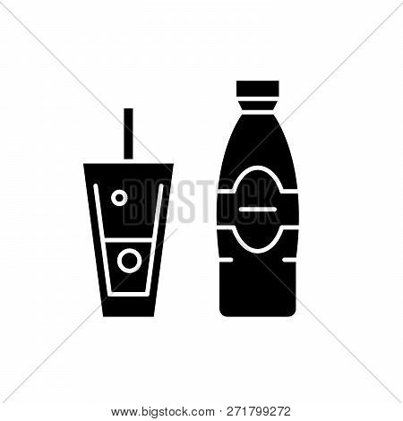 Bottle And Glass Of Mineral Water Black Icon, Vector Sign On Isolated Background. Bottle And Glass O