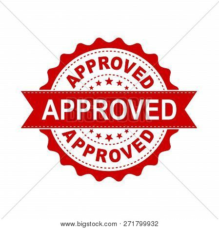 Approved Seal Stamp Vector Icon. Approve Accepted Badge Flat Vec