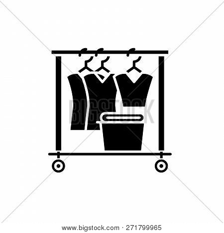 Dresser Black Icon, Vector Sign On Isolated Background. Dresser Concept Symbol, Illustration