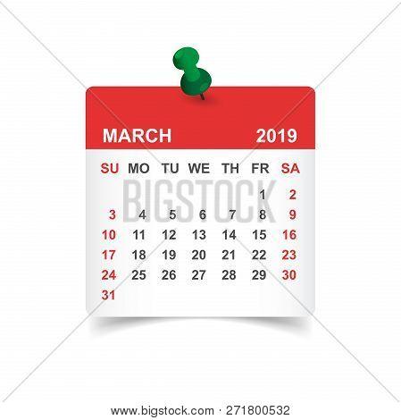 Calendar March 2019 Year In Paper Sticker With Pin. Calendar Pla