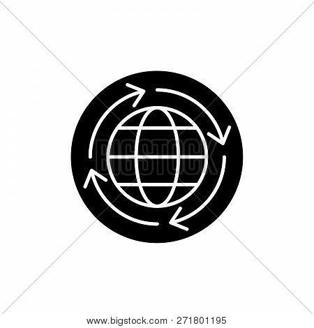 World Economy Black Icon, Vector Sign On Isolated Background. World Economy Concept Symbol, Illustra