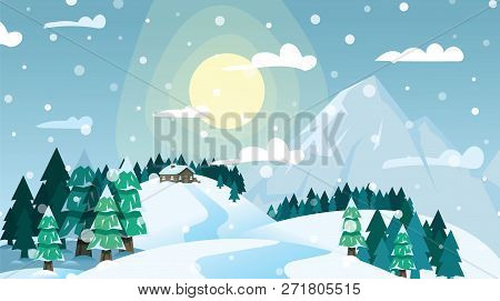 Winter Landscape House On Snowy Coniferous Forest And Mountains On Blue Sky And Bright Sun Backgroun