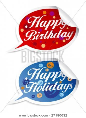 Happy birthday and holidays stickers in form of speech bubbles.