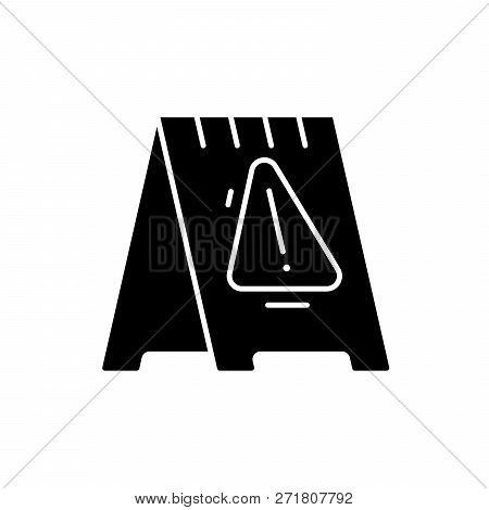 Caution Signpost Black Icon, Vector Sign On Isolated Background. Caution Signpost Concept Symbol, Il