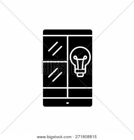 Phablet Idea Black Icon, Vector Sign On Isolated Background. Phablet Idea Concept Symbol, Illustrati