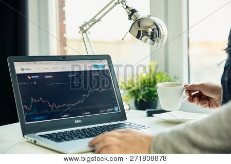 Wroclaw, Poland - November 29th, 2018: Modern Laptop On The Desk In Office With Bitbay Website On Th