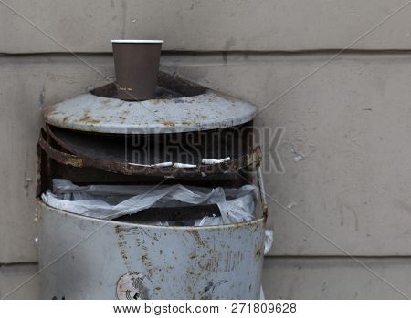 Aged Outdoor Metal Broken Grey Trash Waste Bin