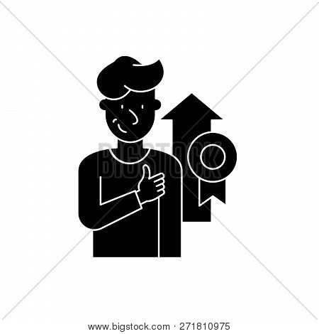 Personal Achievement Black Icon, Vector Sign On Isolated Background. Personal Achievement Concept Sy
