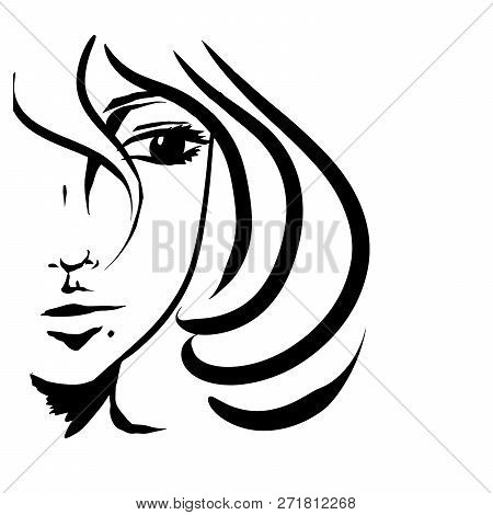 Girl With Short Hair Black Vector. Looking To The Side. Fervent Smile. Illustration