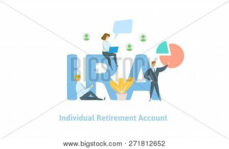 Ira, Individual Retirement Account. Pension Account, Retirement. Concept With Keywords, Letters And