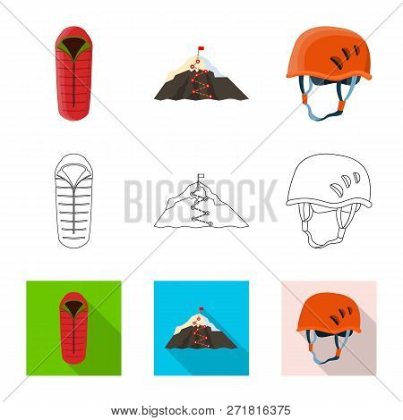 Vector Illustration Of Mountaineering And Peak Icon. Set Of Mountaineering And Camp Stock Symbol For