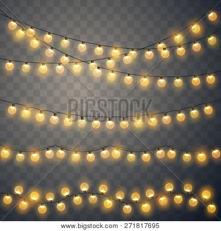Christmas Lights. Colorful Xmas Garland. Vector Red, Yellow, Blue And Green Glow Light Bulbs On Wire