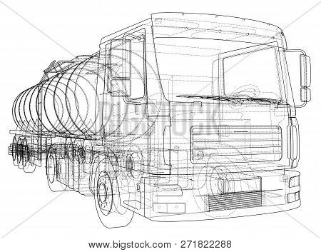Truck With Tank Concept. 3d Illustration. Wire-frame Style