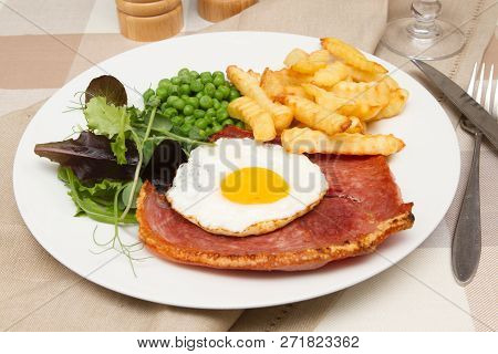 Gammon Steak With A Fried Egg A Traditional Pub Lunch Of Gammon Steak With A Fried Egg