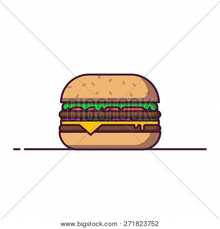 Hamburger Line Style Vector Illustration. Fastfood Concept Banner. Cheeseburger Menu In Cafe. Tasty