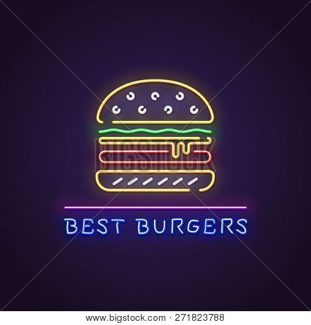 Hamburger Neon Sign. Glowing Neon Sign Of Big Burger. Best Hamburgers Letters Glowing In Retro Color