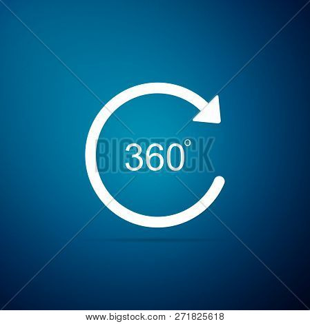 Angle 360 Degrees Icon Isolated On Blue Background. Rotation Of 360 Degrees. Geometry Math Symbol. F