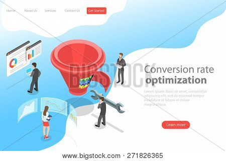 Isometric Flat Vector Landing Page Template Of Conversion Rate Optimization.